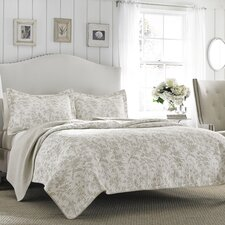 Brompton Reversible Coverlet Set in Beige
