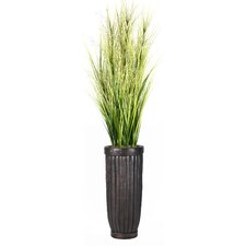 Onion Grass with Twigs in Cylinder Fiberstone Planter