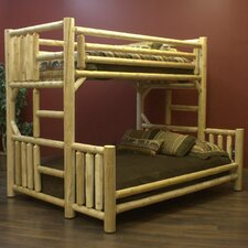 Twin Over Queen Bunk Bed with Built-in Ladder