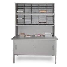 50 Adjustable Slot Literature Organizer with Riser and Cabinet