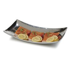 """15"""" Curved Stainless Steel Double Wall Tray (Set of 2)"""