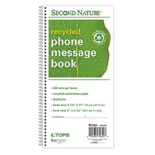 Second Nature 2 Part Carbonless Phone Message Book (Set of 5)