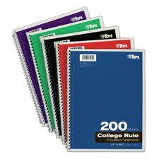 """11"""" x 8.5"""" 5 Subject College Ruling Wirebound Notebook (Set of 24)"""