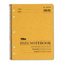 10 Column 5 Hole Left Punched Data Notebook (Set of 12)