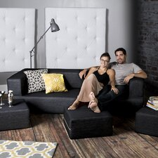 Zipline Modular Denim Sofa & Ottomans