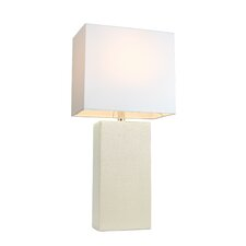 "Elegant Designs 21"" H Leather Table Lamp with Rectangular Shade"