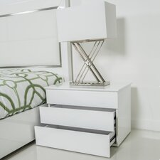 Kompany White Lacquer Lift-Top Nightstand Side Table