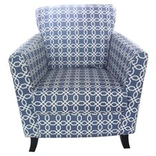 Geometric Arm Chair in Navy Blue/White