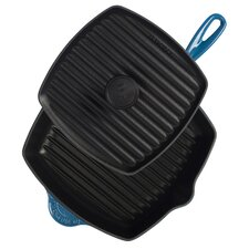 """Cast Iron 10"""" Panini Pan and Skillet Grill Set"""