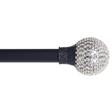 15 Piece Sparkling Ball Single Curtain Rod and Hardware Set
