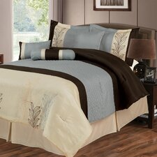 Samantha 7 Piece Comforter Set in Brown & Blue