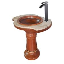 "29"" Drop-in Bowl Scallop Frame Columbia Mahogany Pedestal Sink"