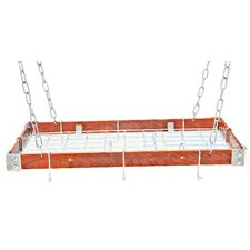 Gourmet Hanging Pot Rack with Metal Accents