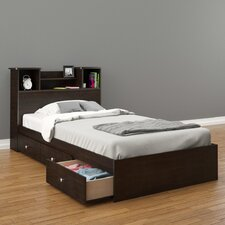 Pocono Bed with Bookcase Headboard in Espresso Laminate