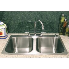 "33.5"" X 21"" Double Bowl Drop-In Kitchen Sink"