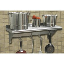 Stainless Steel Wall Mounted Shelf with Pot Rack Bar