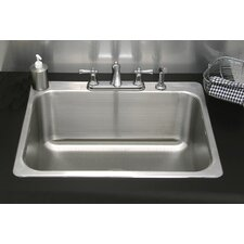 "30.25"" x 24.25"" Single Drop-In Utility Sink with Faucet"
