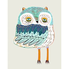"""Wheatpaste Funky Owl"" by Ashley Percival Graphic Art on Canvas in Blue"