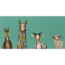 """Donkey Llama Goat Sheep"" by Eli Halpin Graphic Art on Canvas in Teal"