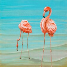 """Flamingos On Vacation"" by Karin Grow Graphic Art on Canvas"