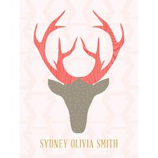 """""""Deer Head Girl Personalized"""" by Stacy Amoo Mensah Graphic Art on Canvas"""