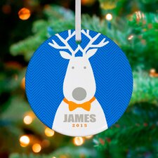 Bow Tie Reindeer Personalized Ornament by Vicky Barone