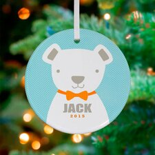 Bow Tie Teddy Personalized Ornament by Vicky Barone