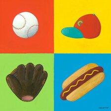 Baseball Four Square Canvas Art