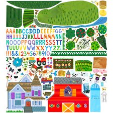203 Pieces On The Farm Peel and Place Wall Decal Set