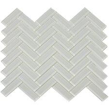 """3"""" x 1"""" Herringbone Shiny Tile in Mist"""