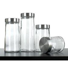 4 Piece Glass Plain Canister Set