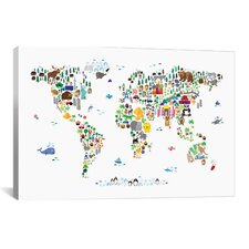 """""""Animal Map of the World"""" by Michael Tompsett Graphic Art on Canvas"""