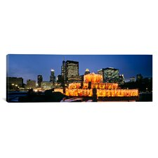 Panoramic Buckingham Fountain Decorated for Christmas, Chicago, Illinois Photographic Print on Canvas