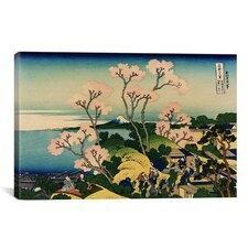 'Goten-yama-hill, Shinagawa on the Tokaido' by Katsushika Hokusai Painting Print on Canvas