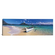 Panoramic 'Fishing Boat Moored on the Beach, Palawan, Philippines' Photographic Print on Canvas