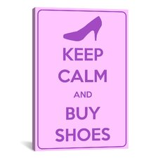 Keep Calm and Buy Shoes Textual Art on Canvas