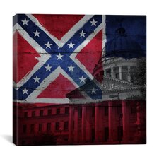 Mississippi Flag, Capitol Building with Wood Planks Graphic Art on Canvas