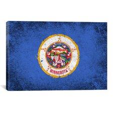 Minnesota Flag, Grunge Painted Graphic Art on Canvas