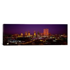 Panoramic Skyscrapers Lit Up at Night Dallas, Texas Photographic Print on Canvas