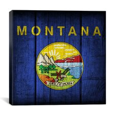 Flags Montana Wood Planks Graphic Art on Canvas