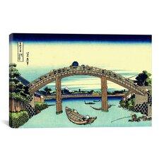 'Under Mannen Bridge at Fukagawa' by Katsushika Hokusai Painting Print on Canvas