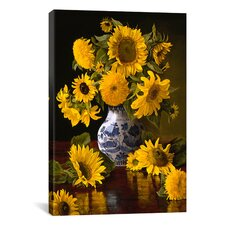 """""""Sunflowers in Blue and White Chinese Vase"""" Canvas Wall Art by Christopher Pierce"""