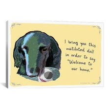 Welcoming Flat Coated Retriever Canvas Print Wall Art