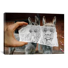 'Pencil with Camera 12 Funny Donkeys' by Ben Heine Photographic Print on Canvas