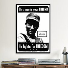 He Fights for Freedom - Chinese - WWII Vintage Advertisement on Canvas