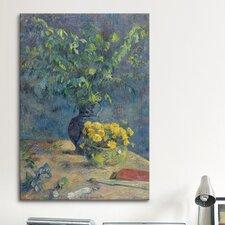 'Deux Vases De Fleurs Et Un Eventail 1885' by Paul Gauguin Painting Print on Canvas