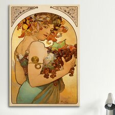 'Fruit' by Alphonse Mucha Painting Print on Canvas