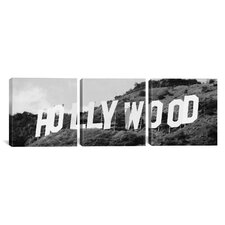 Panoramic Photography Hollywood Skyline Cityscape Sign 3 Piece on Wrapped Canvas Set in Black and White