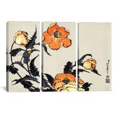 Ando Hiroshige Poppies Katsushika Hokusai 3 Piece on Wrapped Canvas Set