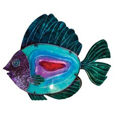 """Hand Painted Glass Metal Fish 12.8"""" H Table Lamp"""